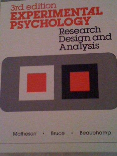 Experimental Psychology: Research Design, and Analysis