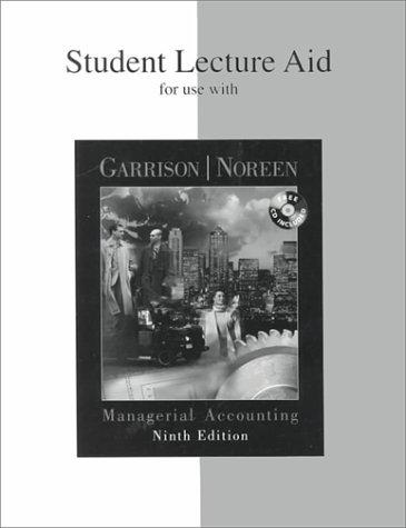 Student Lecture Aid for use with Managerial Accounting