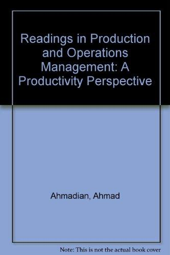 Readings in Production and Operations Management: A Productivity Perspective (Quantitative methods and applied statistics series)