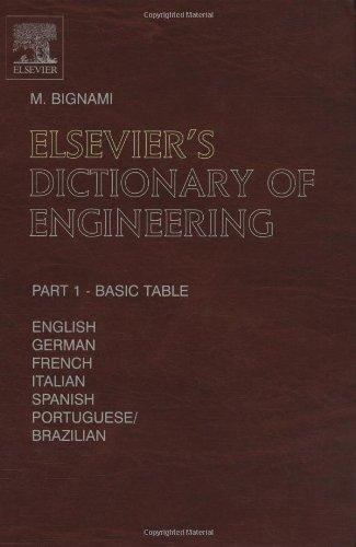 Elsevier's Dictionary of Engineering: In English/American, German, French, Italian, Spanish and Portuguese/Brazilian<br>  10, 987 terms<br> 1490 pages in two volumes