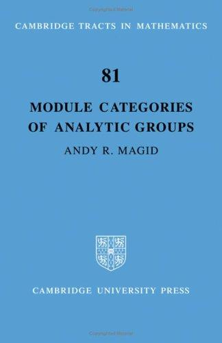 Module Categories of Analytic Groups (Cambridge Tracts in Mathematics)