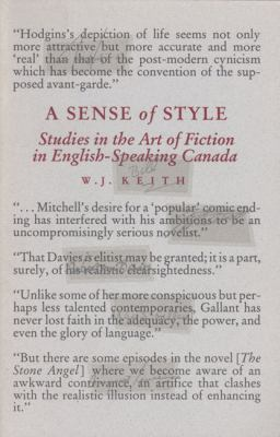Sense of Style: Studies in the Art of Fiction in English-Speaking Canada