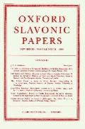 Oxford Slavonic Papers New Series
