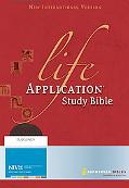 Life Application Study Bible New International Verison, Thumb Indexed, Burgundry, Top Grain ...