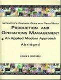 Production and Operations Management: An Applied Modern Approach, Abridged, INSTRUCTOR'S RES...