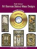 Full-Color Art Nouveau Stained Glass Designs