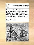 Farewel Odes for the Year 1786 by Peter Pindar, Esquire a Distant Relation of the Poet of Th...