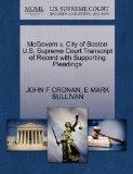 McGovern v. City of Boston U.S. Supreme Court Transcript of Record with Supporting Pleadings
