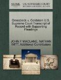 Groesbeck v. Goldstein U.S. Supreme Court Transcript of Record with Supporting Pleadings
