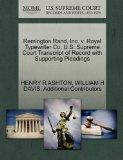 Remington Rand, Inc. v. Royal Typewriter Co. U.S. Supreme Court Transcript of Record with Su...