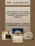 Gorun (Maria) v. Fall (Victor) U.S. Supreme Court Transcript of Record with Supporting Plead...