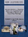 Hansen (Jerome) v. Ahlgrimm (John) U.S. Supreme Court Transcript of Record with Supporting P...