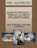 Cowden Manufacturing Co. v. Koratron Co. U.S. Supreme Court Transcript of Record with Suppor...