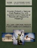 Kosydar (Robert) v. National Cash Register Co. U.S. Supreme Court Transcript of Record with ...