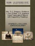 Mrs. T. C. Simpson, Petitioner, v. Harl O'Neal. U.S. Supreme Court Transcript of Record with...