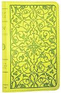 Holy Bible English Standard Version, Cool Green, Floral Design, Red Letter, Compact Trutone