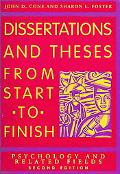 Dissertations And Theses from Start to Finish Psychology And Related Fields