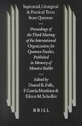 Sapiental, Liturgical and Poetical Texts from Qumran Proceedings of the Third Meeting of the...