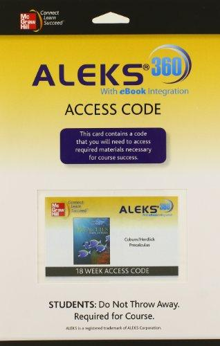 ALEKS 360 Access Card 18 Weeks for Coburn Precalculus: Graphs & Models