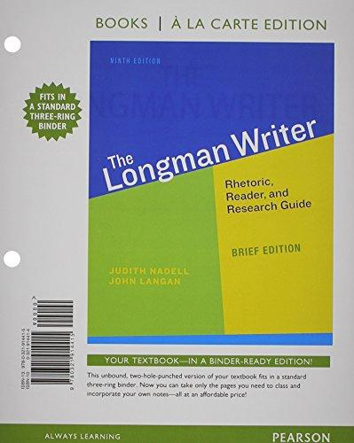 The Longman Writer, Brief Edition, Books a la Carte Edition Plus MyWritingLab -- Access Card Package (9th Edition)