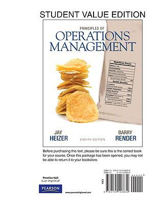 Student Value Edition for Principles of Operations Management (8th Edition)