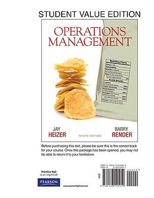 Student Value Edition for Operations Management (10th Edition)
