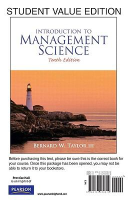 Student Value Edition for Introduction to Management Science (10th Edition)