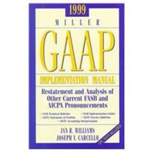 1999 Miller Gaap Implementation Manual: Restatement and Analysis of Other Current Fasb and Aicpa Pronouncements