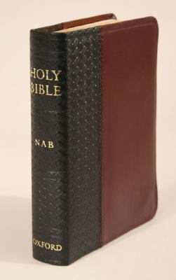 New American Bible Black/burgundy, Bonded Leather Basketweave