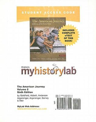 MyHistoryLab with Pearson eText -- Standalone Access Card -- for the American Journey Volume 2 (Myhistorylab (Access Codes))