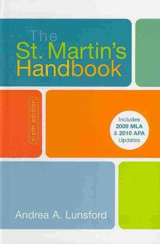 St. Martin's Handbook 6e cloth with 2009 MLA and 2010 Updates & Top Twenty Quick Reference Card