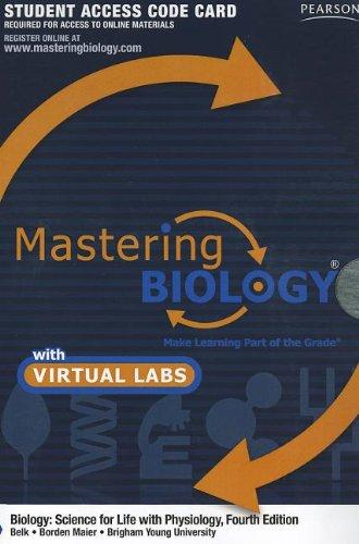 MasteringBiology with MasteringBiology Virtual Lab Full Suite -- Standalone Access Card -- for Biology: Science for Life with Physiology