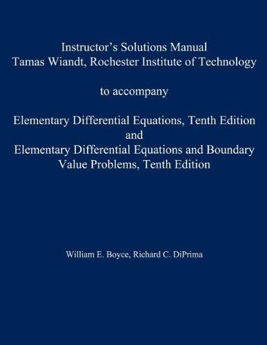 Instructor's Solution Manual to accompany Elementary Differential Equations and Elementary Differential Equations w/ Boundary Value Problems
