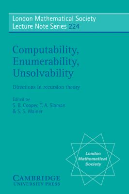 Computability, Enumerability, Unsolvability Directions in Recursion Theory