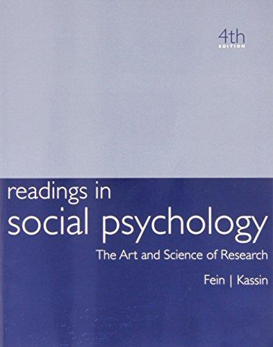 Kassin Readings In Social Psychology, Fourth Edition