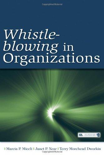 Whistle-Blowing in Organizations (Lea's Organization and Management Series)