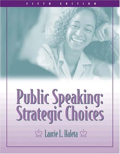 Public Speaking: Strategic Choices
