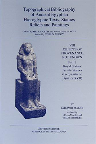 Topographical Bibliography of Ancient Egyptian Hieroglyphic Texts, Reliefs, Statues and Paintings, Vol. VIII: Objects of Provenance Not Known; Parts 1 and 2