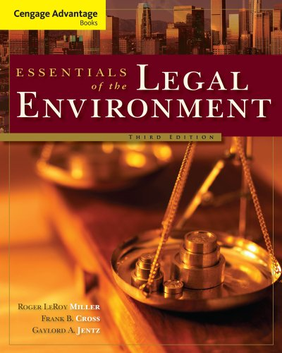 Bundle: Cengage Advantage Books: Essentials of the Legal Environment, 3rd + WebTutor(TM) ToolBox for Blackboard Printed Access Card