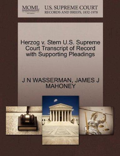Herzog v. Stern U.S. Supreme Court Transcript of Record with Supporting Pleadings