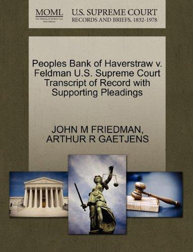 Peoples Bank of Haverstraw v. Feldman U.S. Supreme Court Transcript of Record with Supporting Pleadings