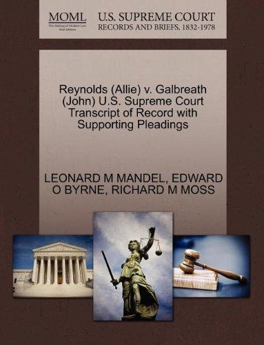 Reynolds (Allie) v. Galbreath (John) U.S. Supreme Court Transcript of Record with Supporting Pleadings