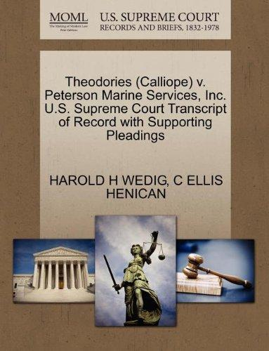 Theodories (Calliope) v. Peterson Marine Services, Inc. U.S. Supreme Court Transcript of Record with Supporting Pleadings