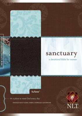 Sanctuary New Living Translation, Vintage Blue Floral/Espresso, TuTone, A Devotional Bible for Women