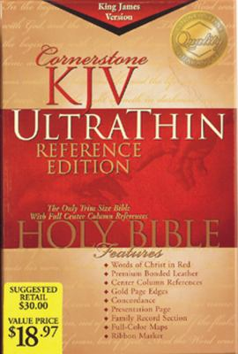 Holy Bible, Cornerstone King James Version Ultrathin Reference, Burgundy, Bonded Leather