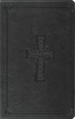 Holy Bible English Stanard Version, Thinline, Charcoal, Celtic Cross Design Synthetic Leather Red Letter
