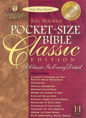 Pocket-Size Bible Classic Edition Holman Christian Standard Bible, Blue, Bonded Leather, Snap Flap