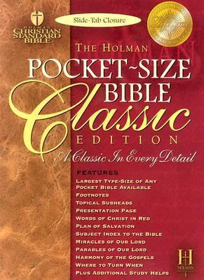 Pocket-Size Bible Classic Edition Holman Christian Standard Bible, Blue, Bonded Leather, Slide Tab