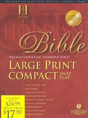 Holy Bible Holman Christian Standard Bible, Burgundy, Bonded Leather, Large Print Compact, Snap flap Bible