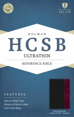 HCSB Ultrathin Reference Bible, Black/Burgundy LeatherTouch Indexed